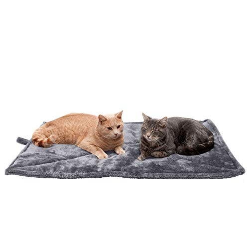 Furhaven Pet Dog Bed Heating Pad - ThermaNAP Quilted Faux Fur Insulated Thermal Self-Warming Pet Bed Pad for Dogs and Cats, Gray, Large