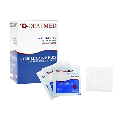 Dealmed 2'' x 2'' Sterile Gauze Pads, Individually Wrapped for Wound Dressing, Absorbent Gauze Sponge Pads for First Aid, Home Kits, and Wound Care, 100 Count (Pack of 1)