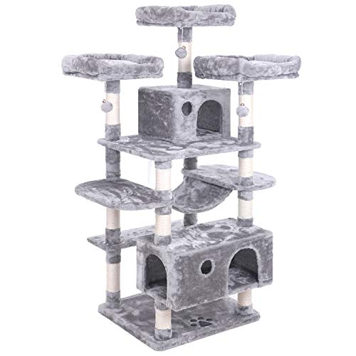 BEWISHOME Large Cat Tree Condo with Sisal Scratching Posts Perches Houses Hammock, Cat Tower Furniture Kitty Activity Center Kitten Play House Light Grey MMJ03G