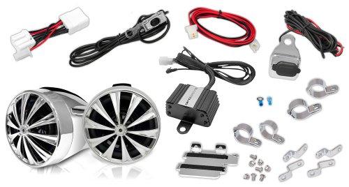 Motorcycle Waterproof Speaker Amplifier System - Set of 3 Inch 700W Weatherproof Speakers, AUX in - Handlebar Mount Mini Stereo Audio Receiver Kit - for ATV, Motorbike - Lanzar