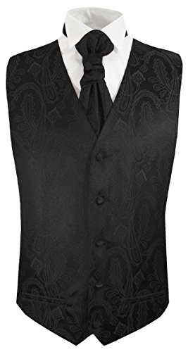 Paul Malone Black Paisley Tuxedo Vest and Cravat