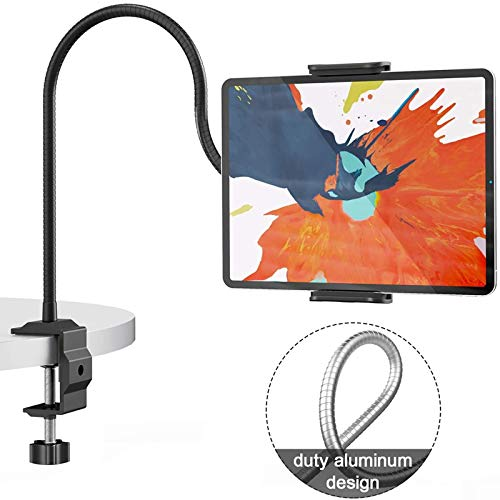 Klsniur Gooseneck Tablet Holder, Universal Tablet Stand 360 Flexible Lazy Bracket Clamp Long Arms Mount Compatible with iPad Air Pro Mini, Samsung Tab, Nintendo Switch and Other 4.7'-10.5' Tablets