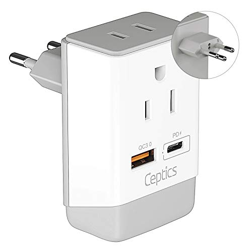 Switzerland Plug Adapter, Travel with QC 3.0 & PD by Ceptics, Safe Dual USB & USB-C - 2 USA Socket Compact & Powerful - Quick Charge 3.0 & Power Delivery - Type J AP-11A - Fast Charging