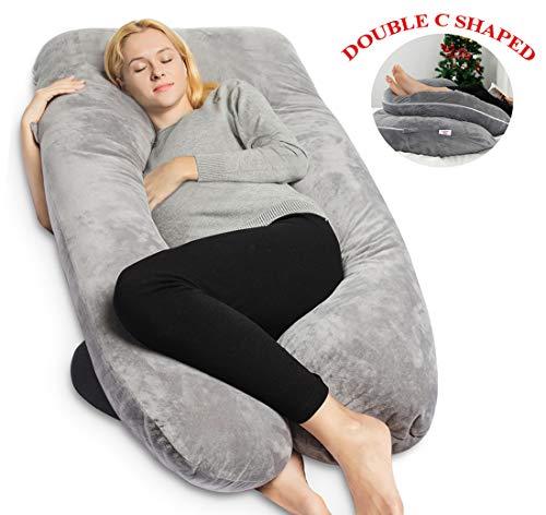 QUEEN ROSE Pregnancy Pillow with Velvet Cover-U-Shape Full Body Maternity Pillow for Pregnant Women Support,Gray
