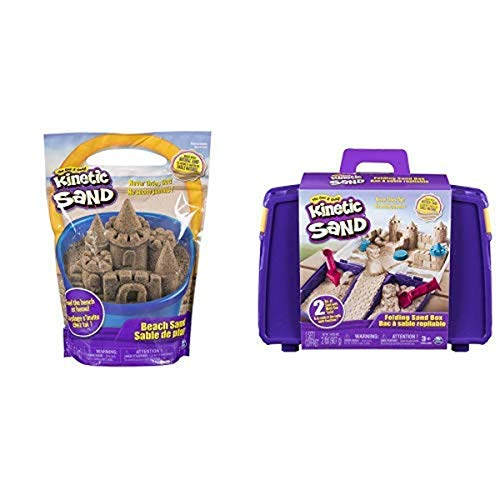 Kinetic Sand, 3lbs Beach Sand for Ages 3 & Up (Packaging May Vary) and The One and Only Kinetic Sand, Folding Sand Box with 2lbs of Kinetic Sand