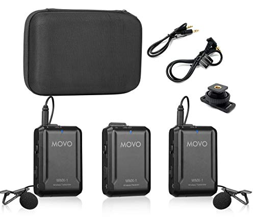 Movo WMX-1-DUO 2.4GHz Dual Wireless Lavalier Microphone System Compatible with DSLR Cameras, Camcorders, iPhone, Android Smartphones, and Tablets (200' ft Audio Range) - Great for Teaching Tutorials