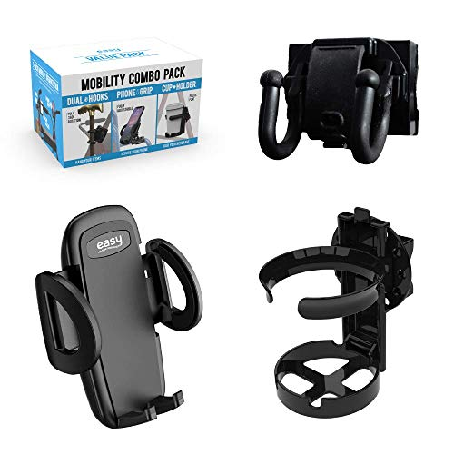 Mobility Combo Pack - Cup Holder, Phone Holder and Hooks for Walkers, Wheelchairs and Strollers
