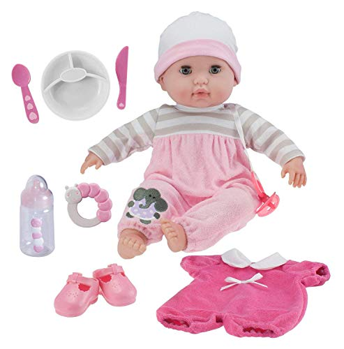 Berenguer Boutique 15' Soft Body Baby Doll - Pink 10 Piece Gift Set with Open/Close Eyes- Perfect for Children 2+