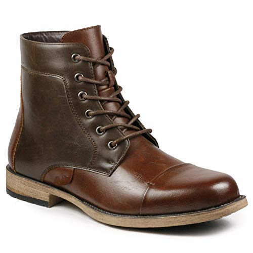 Metrocharm MC307 Men's Lace Up Cap Toe Formal Dress Casual Fashion Boots (9, Brown/Dark Brown)