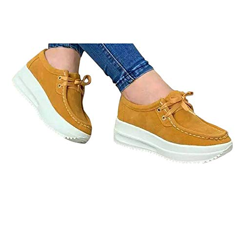 Hemlock Women Platform Shoes Thick Bottom Sneakers Round Toe Wedges Shoes Lace Up Slip On Loafers Lady Work Shoes Yellow