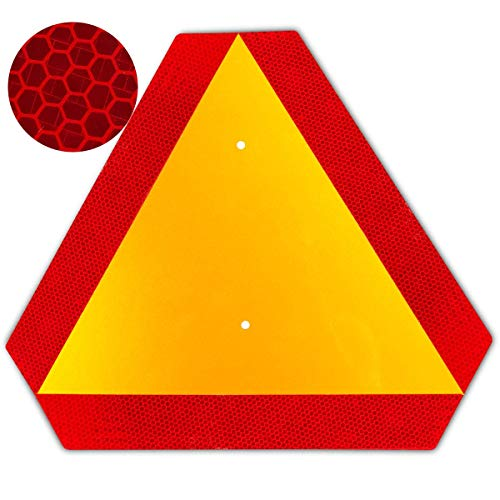 Orange Slow Moving Vehicle Sign for Golf Cart,Triangle Sign,SMV Sign 14'x16'Aluminum Diamond Grade Reflective,Up to 5 Years of Outdoor use
