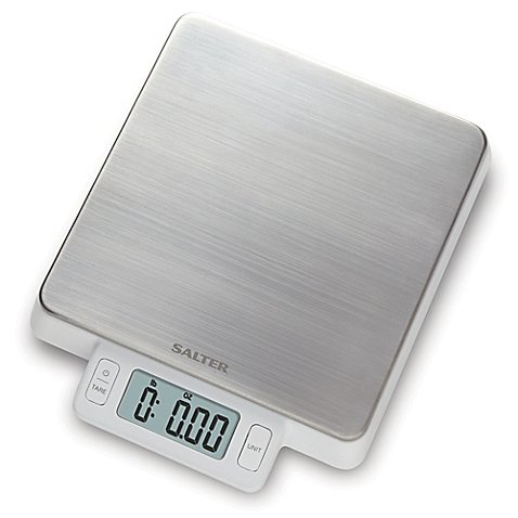 Salter High Precision Stainless Steel Digital Kitchen Food Scale in White l 11 Pound Weight Capacity and is Easy to Clean