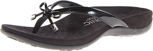 Vionic Women's Rest Bella Toe Post Sandal- Suppportive Ladies Orthotic Sandals that include Three Zone Comfort with Arch Support- Flip Flop for Ladies, Medium and Wide Width Size 5-12 Black 8 Wide US