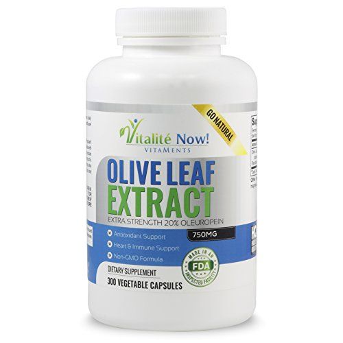 Upsize Super Strength Best Olive Leaf Extract (Non-GMO) - 20% Oleuropein - Immune Support, Cardiovascular Health & Antioxidant Supplement - Up to 9 Months - 750mg Capsules - Vegetarian 300 Count