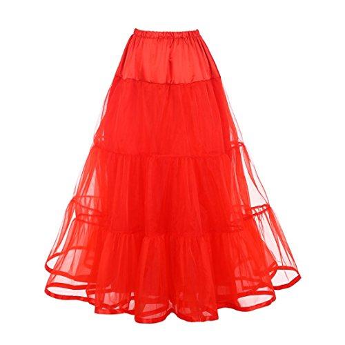 Puffy Petticoat Skirt Netting Ankle Length Tulle Skirt Underskirt for Women(S/M, Red)