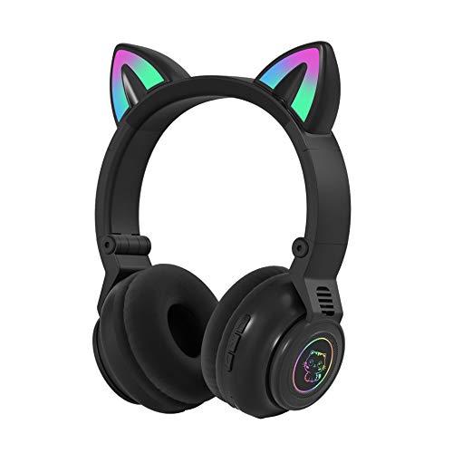 Tititek Light up Headphones Cat Ears Headphones for Kids Teens, Wireless Headphones Gaming Headset with Microphone, Girls Cute Over-Ear Headphones for School Learning PC Online Study (Black)
