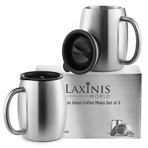 Stainless Steel Coffee Mugs with Spill Resistant Lids, 14 Oz Double Walled Insulated Coffee, Tea or Beer Cups, Set of 2