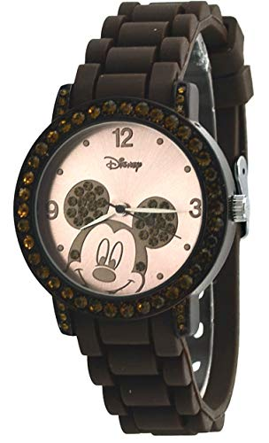Disney Women's MK1182 Rhinestone Accent Mickey Mouse Brown Rubber Strap Watch