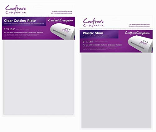 Crafters Companion Gemini Clear Cutting Plate and Plastic Shim   9 Inch x 12.5 Inch Each   Set for use with Gemini Die Cutting and Embossing Machine