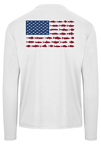 Chasing Fin American Fish Flag Performance Long Sleeve Fishing Shirt (Small, White)
