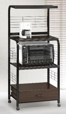 New Black Metal Finish Rolling Microwave Cart with Power Strip!