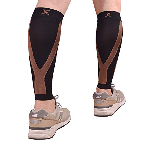 Thx4COPPER Calf Compression Sleeve(20-30mmHg) for Men & Women, Shin Splint Leg Compression Calf Sleeve- Great for Running, Cycling, Travelling- Improve Circulation and Recovery-X-Large