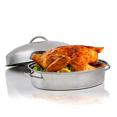 Ovente Kitchen Oval Roasting Pan 16 Inch Stainless Steel Nonstick Baking Tray with Lid & Rack, Dishwasher Safe Roaster for Oven Cooking Grilling Turkey Chicken at Home or Thanksgiving Silver