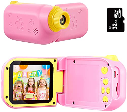SunChen Kids Camera Camcorder, 2.4IN 1080P Children Video Recorder Kids Video Camera for Toddler Girls Boys 3-9 Years Old, Birthday Gifts for Boys and Girl, 32GB SD Card-Pink