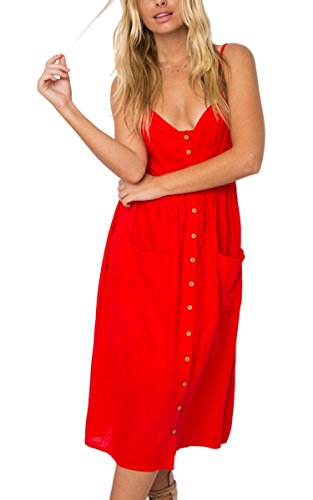 Angashion Women's Dresses-Summer Floral Bohemian Spaghetti Strap Button Down Swing Midi Dress with Pockets Red S