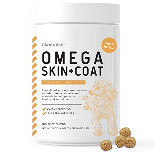 Chew + Heal Omega Skin and Coat Supplement - 180 Soft Chews - Salmon Fish Oil for Dogs - Blend of Essential Fatty Acids, Omega 3 and 6, Vitamins, Antioxidants and Minerals - 60 Day Supply
