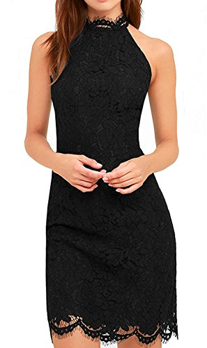 Zalalus Lace Dress, Elegant High Neck Sheath Black Cocktail Dresses for Women Wedding Party US 4