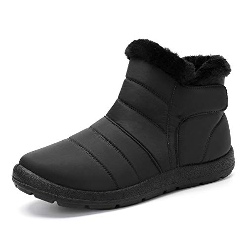 gracosy Warm Snow Boots, Winter Warm Ankle Boots, Fur Lining Boots, Waterproof Thickening Winter Shoes for Women Black 10 M US