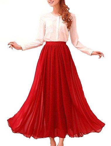 Afibi Womens Chiffon Retro Long Maxi Skirt Beach Ankle Length Skirt (XXX-Large, Red)