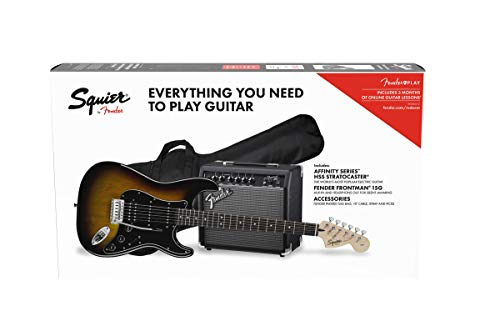 Squier by Fender Affinity Stratocaster Beginner Pack, Laurel Fingerboard, Brown Sunburst, with Gig Bag, Amp, Strap, Cable, Picks, and Fender Play