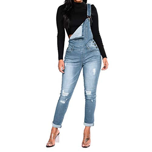 Women's Jumpsuit Tight Calf Jeans with Holes in Their Straps Straightforward Work Overalls Blue