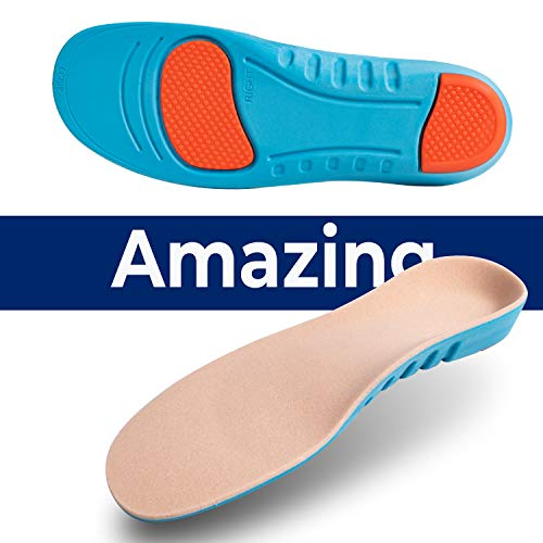 Sport Inserts Gel High Arch Support Shock Absorption Athlete Insoles Super Comfortable Relieve Flat Feet Plantar Fasciitis Breathable Cushion Insoles(S 10IN Men 6-7 / Women 8-9.5 / Big Kids 6.5-7.5)