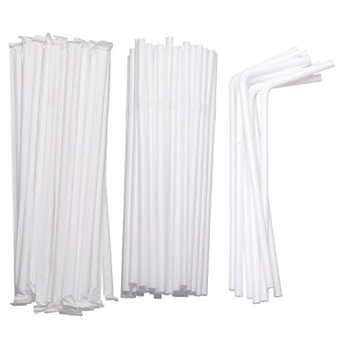 Flexible Drinking Straws in Bulk | 7 3/4 Inches Long Straws for Cold Hot Drinks, Parties Individually Wrapped and Disposable, White in Color (1 Pack/400 Straws)