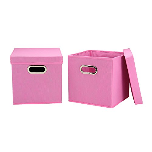 Household Essentials Cube Set with Lids, Pink, 2-Pack
