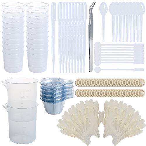 All 158Pcs Epoxy Resin Mixing Kits, LAMPTOP 20 Resin Cups 30ml, 2 Epoxy Resin Measuring Cups 100ml, 50 Disposable Cups, 50 Finger cots,10 Droppers,10 Stirrers, 10 Spoons, 5-Pair Gloves and Tweezer