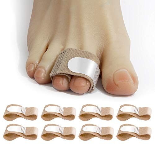 FirMate Broken Toe Wraps 8 Pcs/Pack, Cushioned Bandages,Toe Splint, Hammer Toe Straightener, Toe Wraps for Overlapping, Fractured or Injured Toes