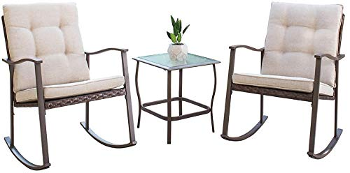 SUNCROWN 3-Piece Outdoor Rocking Bistro Set, Brown Wicker Furniture-Two Chairs with Glass Coffee Table(Beige Cushion)