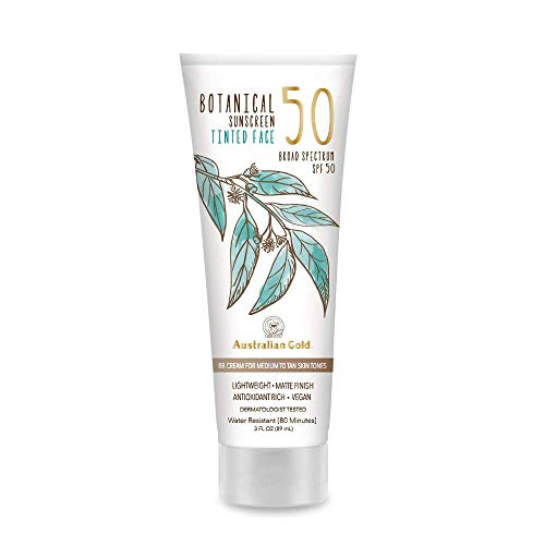Australian Gold Botanical Sunscreen Tinted Face BB Cream SPF 50, 3 Ounce   Medium-Tan   Broad Spectrum   Water Resistant   Vegan   Antioxidant Rich