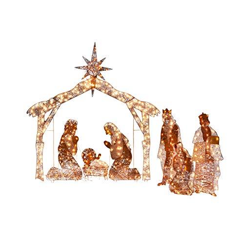 BrylaneHome Crystal Splendor Outdoor Nativity Scene Figurine, Nativity Scene