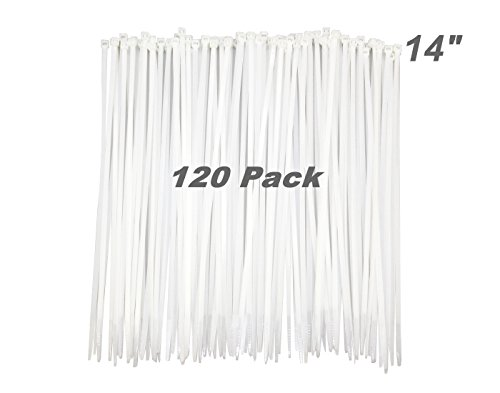 120 Pack Long 14 Inch White Clear Strong Cable Ties, Upgrade Industrial UV Resistant Durable Life Zip Ties, Heavy Duty Cable Management for Large Objects (50LB, White, Outdoor Use)