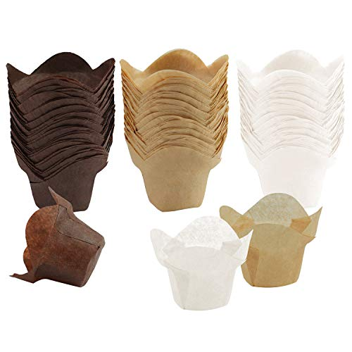 Ruisita 150 Pieces Lotus Baking Cups Paper Cups Cupcake Muffin Liners Wrappers (150, Brown, Natural and White)