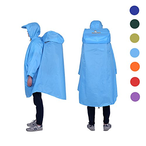 Adventure World Globotrekker Lightweight Backpack Poncho (Multiple Color Options Available) (Sky Blue)
