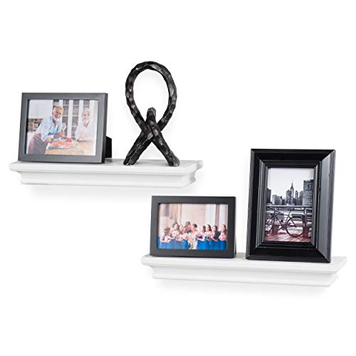 Crown Molding Floating Shelves Picture Ledge – 2 Set Shelf – for Frames Book Display Décor with Concealed Metal Bracket for Stable Wall Mount (White)