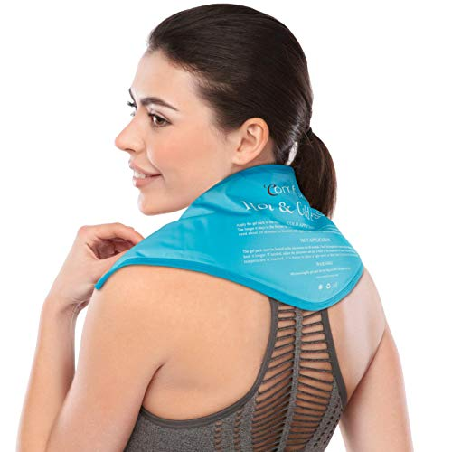 Neck Ice Pack, Comfytemp Shoulder Gel Ice Pack, Reusable Cold Pack Compress, Flexible Hot and Cold Therapy Wrap for Injuries, Swelling, Pain Relief, Bruises, Sprains, Inflammation 23'x8'x5'