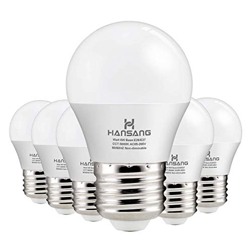 Hansang A15 LED Bulb Light 6 Watt (60w Equivalent),E26 Standard Base,5000K Daylight,600 Lumens,Frosted G45/A15 Bulb Shape,CRI83,Ceiling Fan Light Bulb,Home Appliance Bulb,No Dimmable (6 Pack)