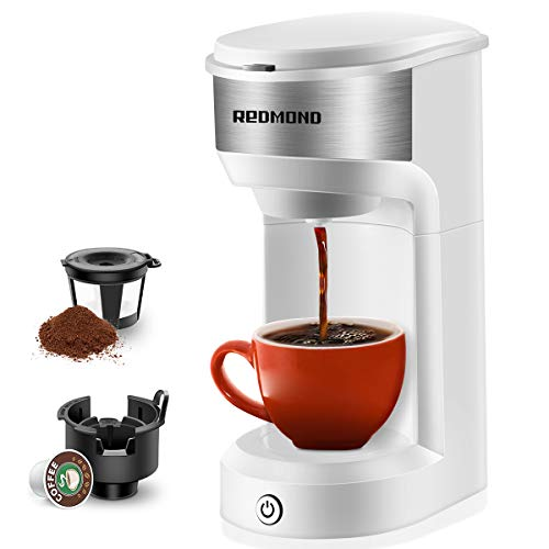 REDMOND Coffee Maker Single Serve, Single Cup Coffee Brewer for Pod & Coffee Grounds, Up to 14 OZ One Touch Operation 90 Seconds Fast Brewing Coffee Maker, 1000W, White, CM001